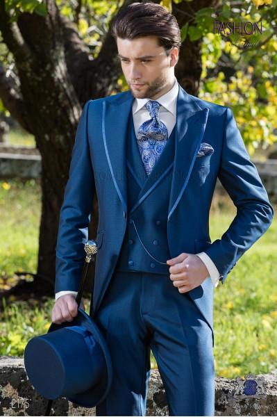 """Traje semilevita azul royal alpaca elegante corte """"Slim"""". Traje de novio 2175 Mario Moyano"""