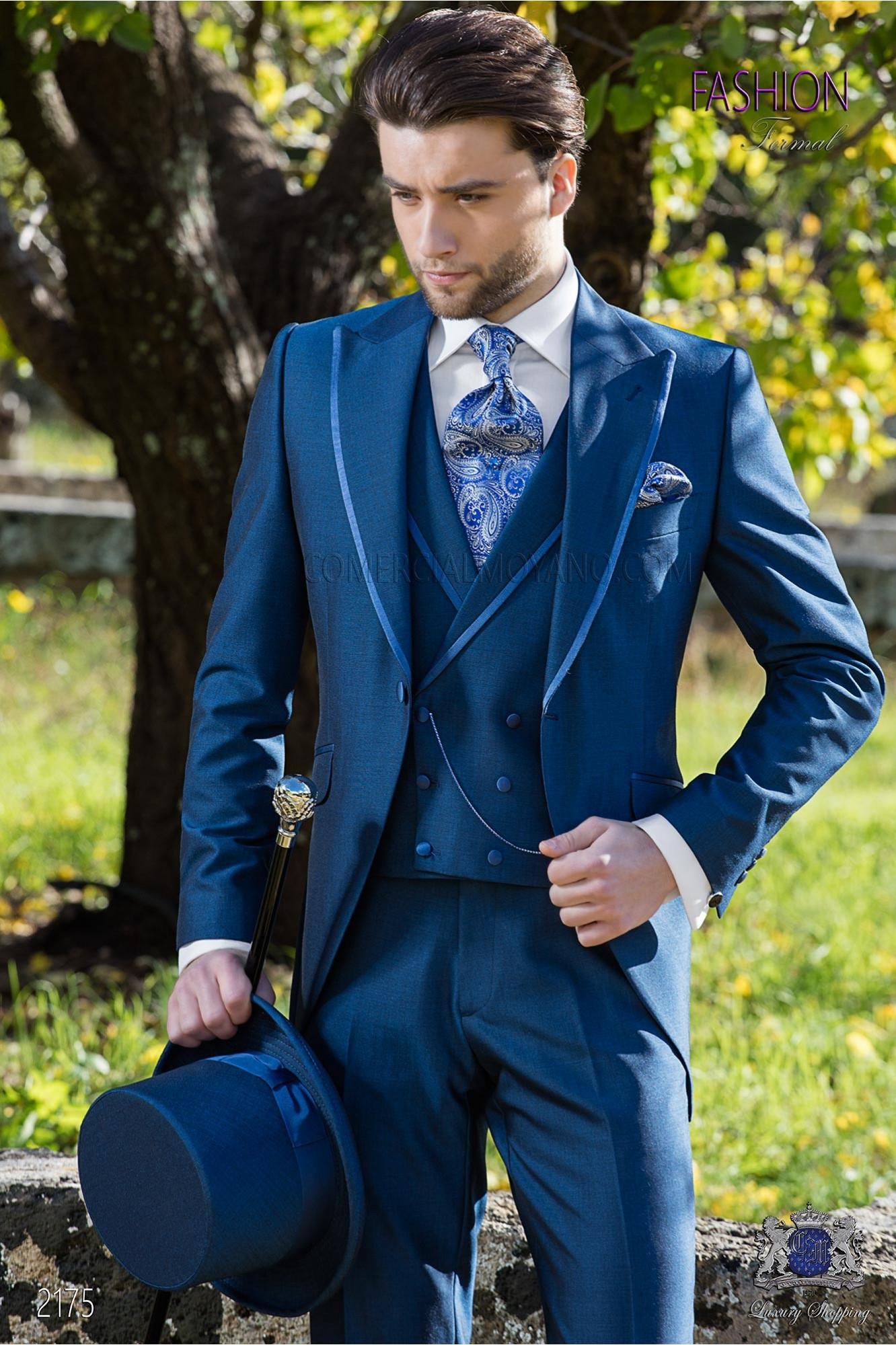 """Traje semilevita azul royal alpaca elegante corte italiano """"Slim"""""""