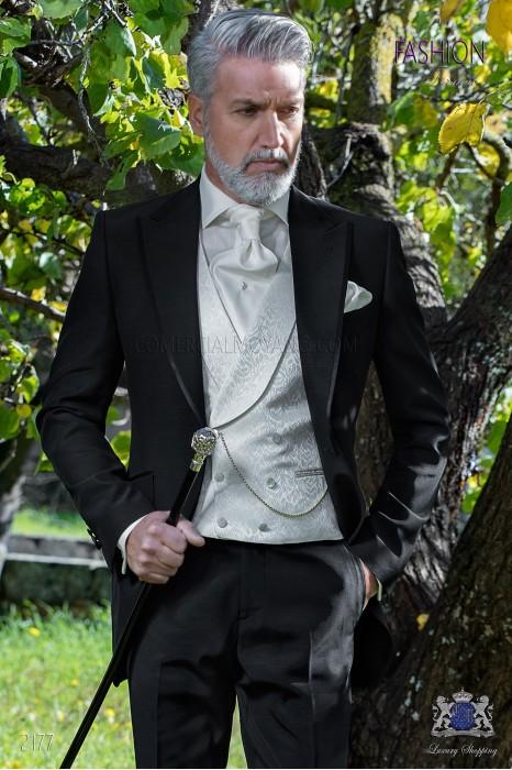 Italian bespoke black frock coat suit