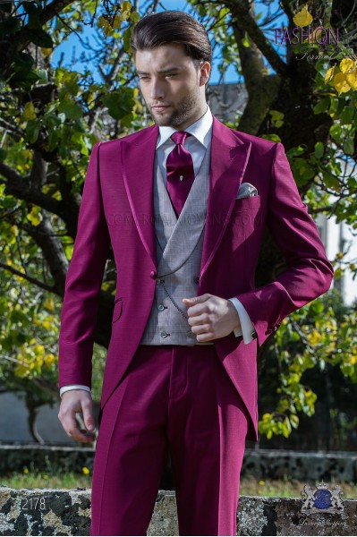 Italian bespoke burgundy frock coat suit