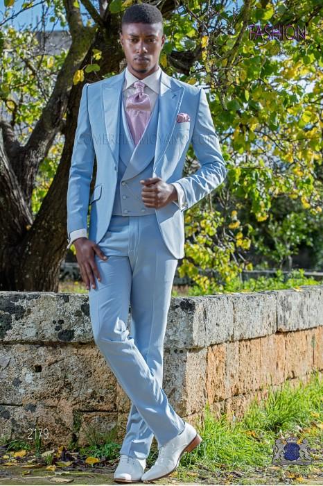 Italian bespoke light blue wedding suit