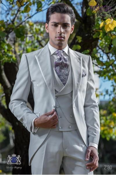 Italian bespoke gray pearl frock coat suit