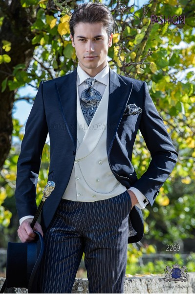 Italian short-tailed wedding suits with slim stylish cut, peak lapel with single button closure and contrast piping.
