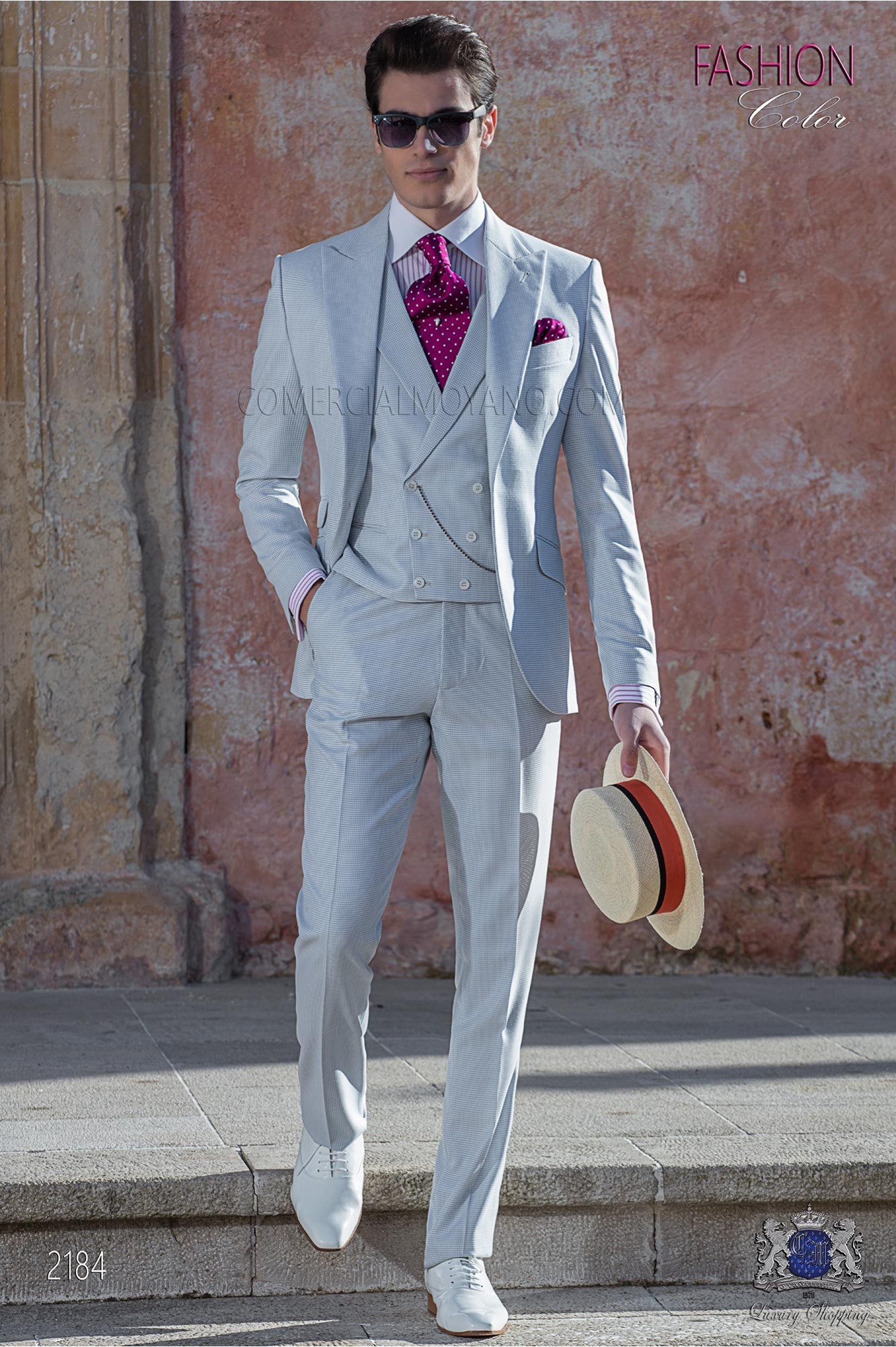 Bespoke Houndstooth suit gray pearl