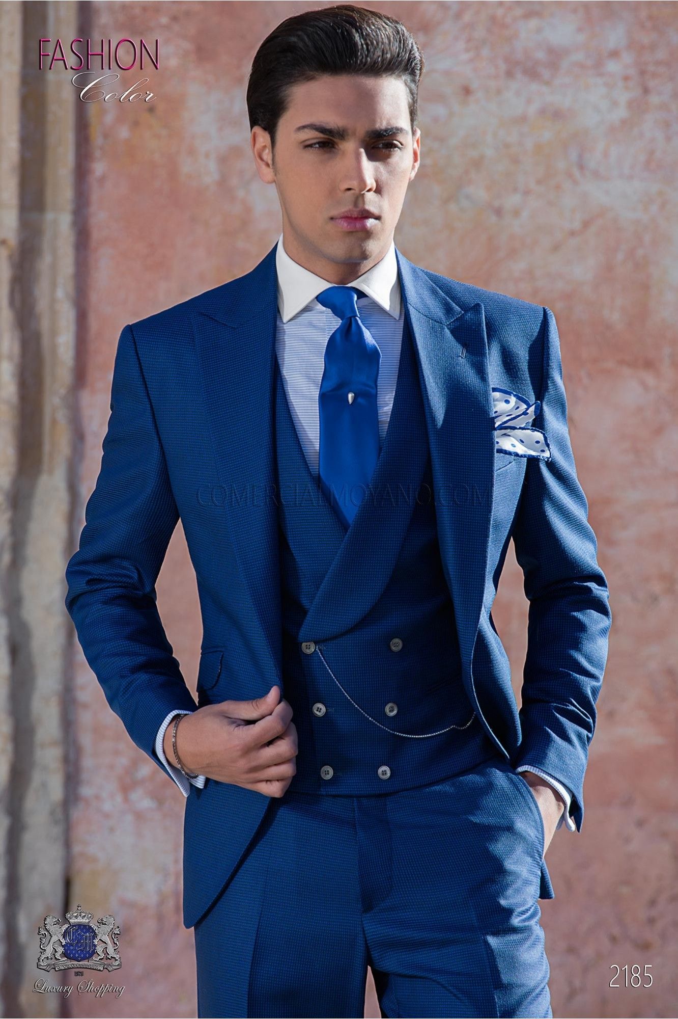 Bespoke Houndstooth suit blue royal
