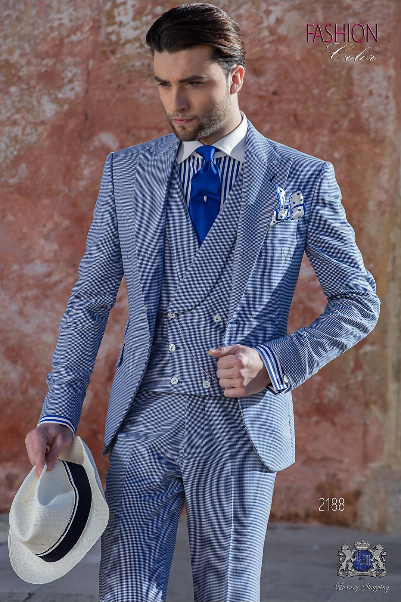 Bespoke Houndstooth suit blue