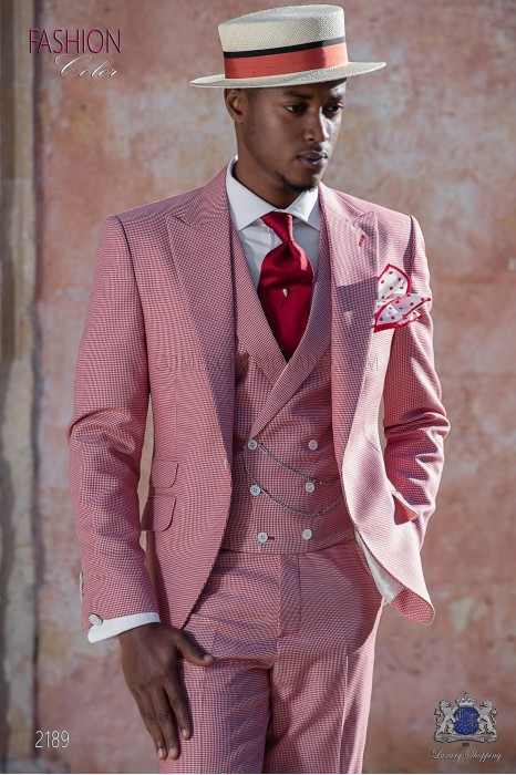 Bespoke Houndstooth suit red