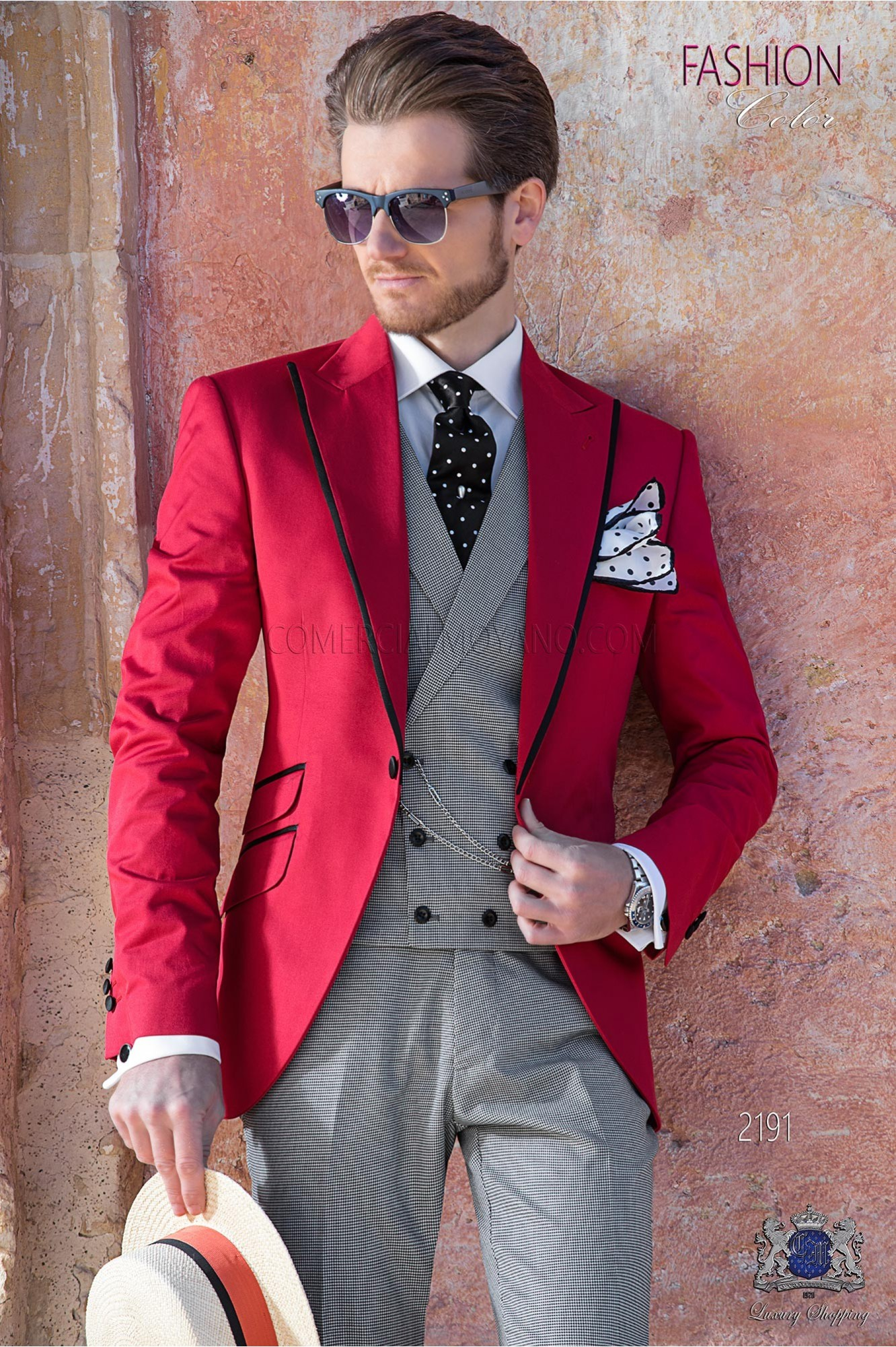 Red cotton fashion men suit