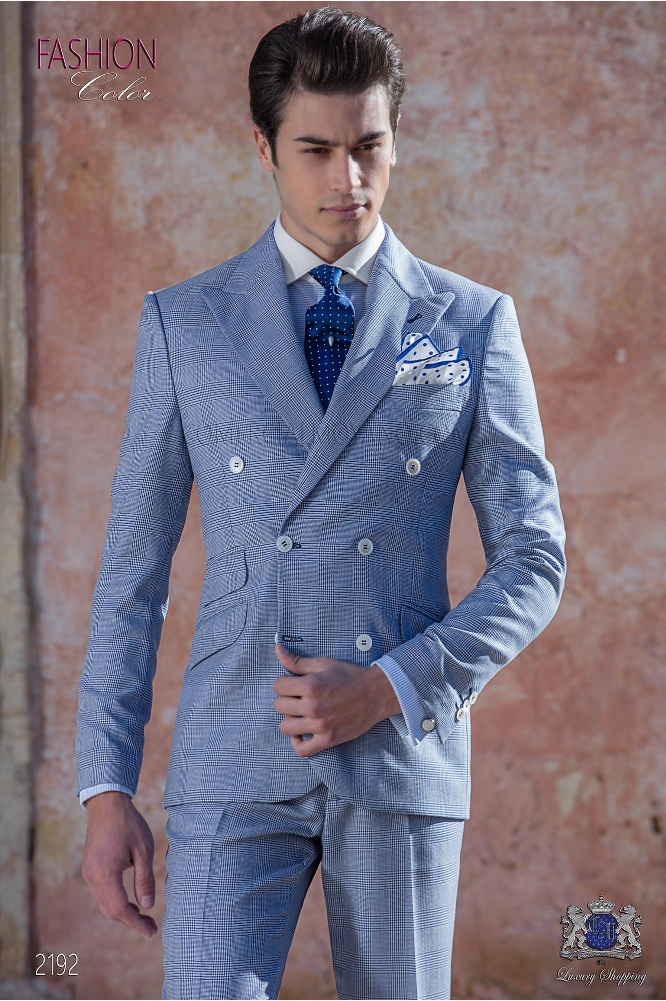 Traje italiano cruzado Principe de Gales azul royal