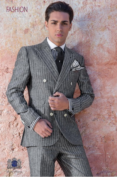Traje de novio a medida de lino gris raya diplomática