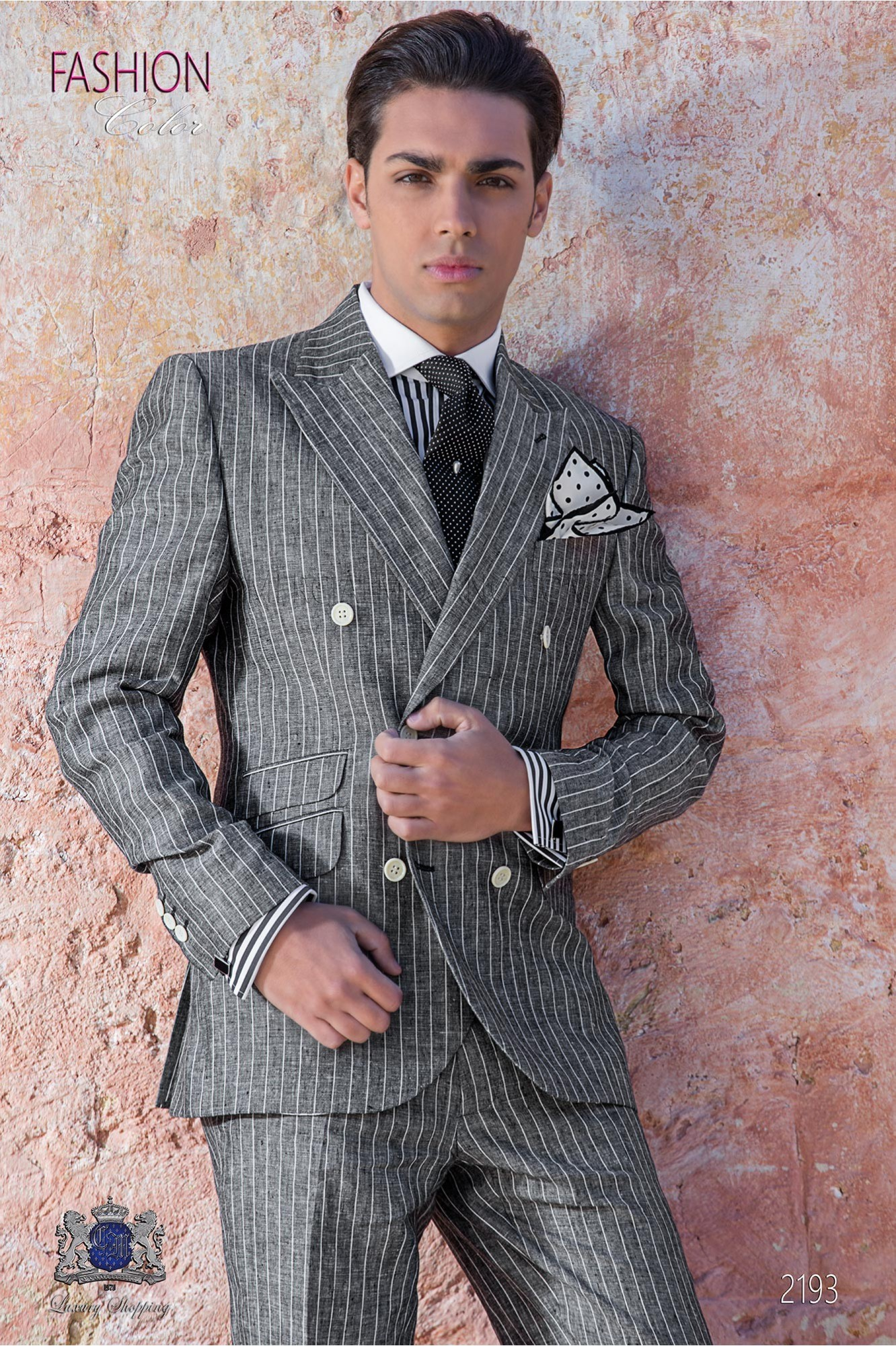 Italian bespoke gray striped linen suit
