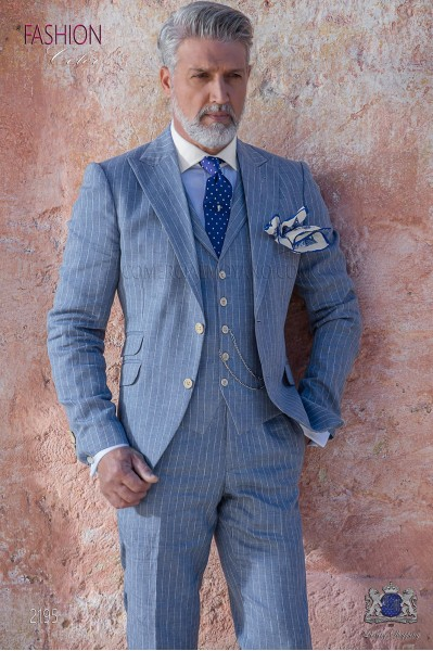 Italian bespoke light blue striped linen suit.