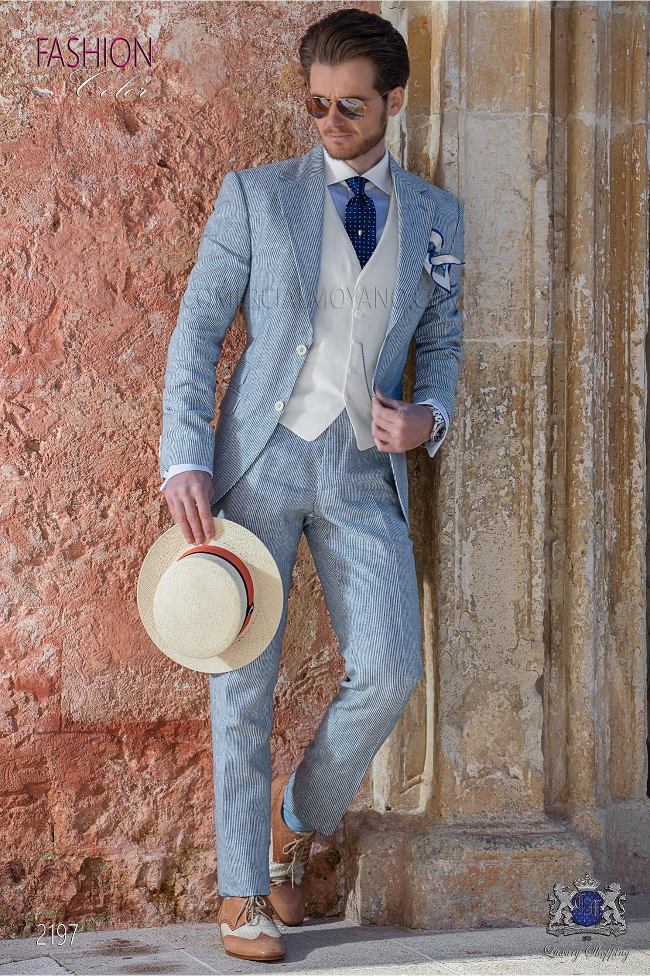 Italian bespoke blue striped linen suit