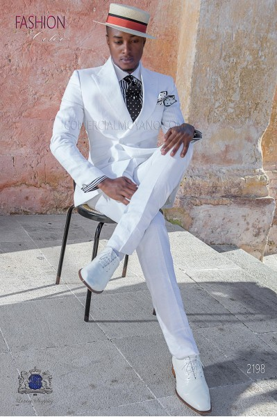 Italian stitched bespoke ivory pure linen suit