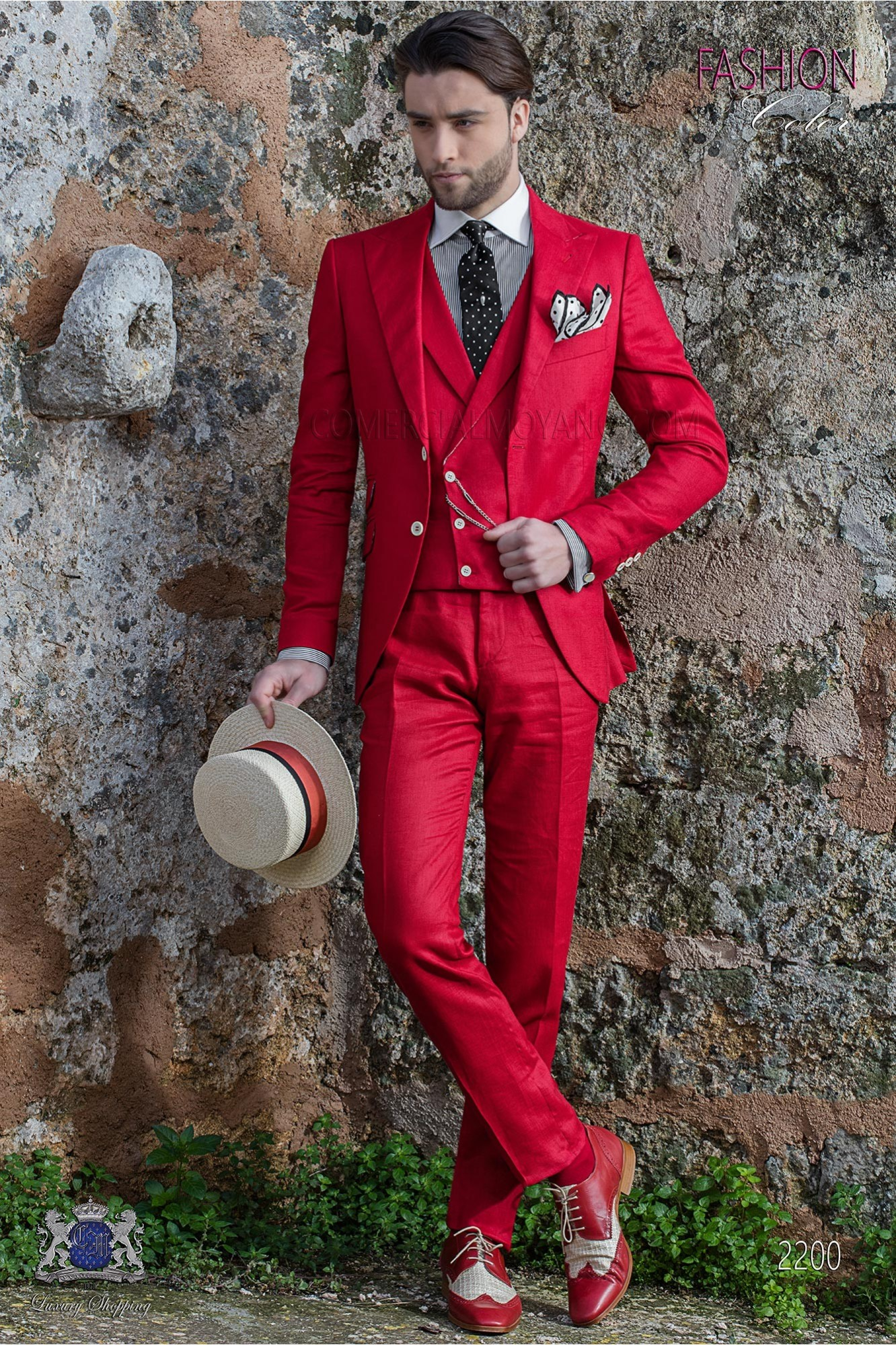 Italian stitched bespoke red pure linen suit