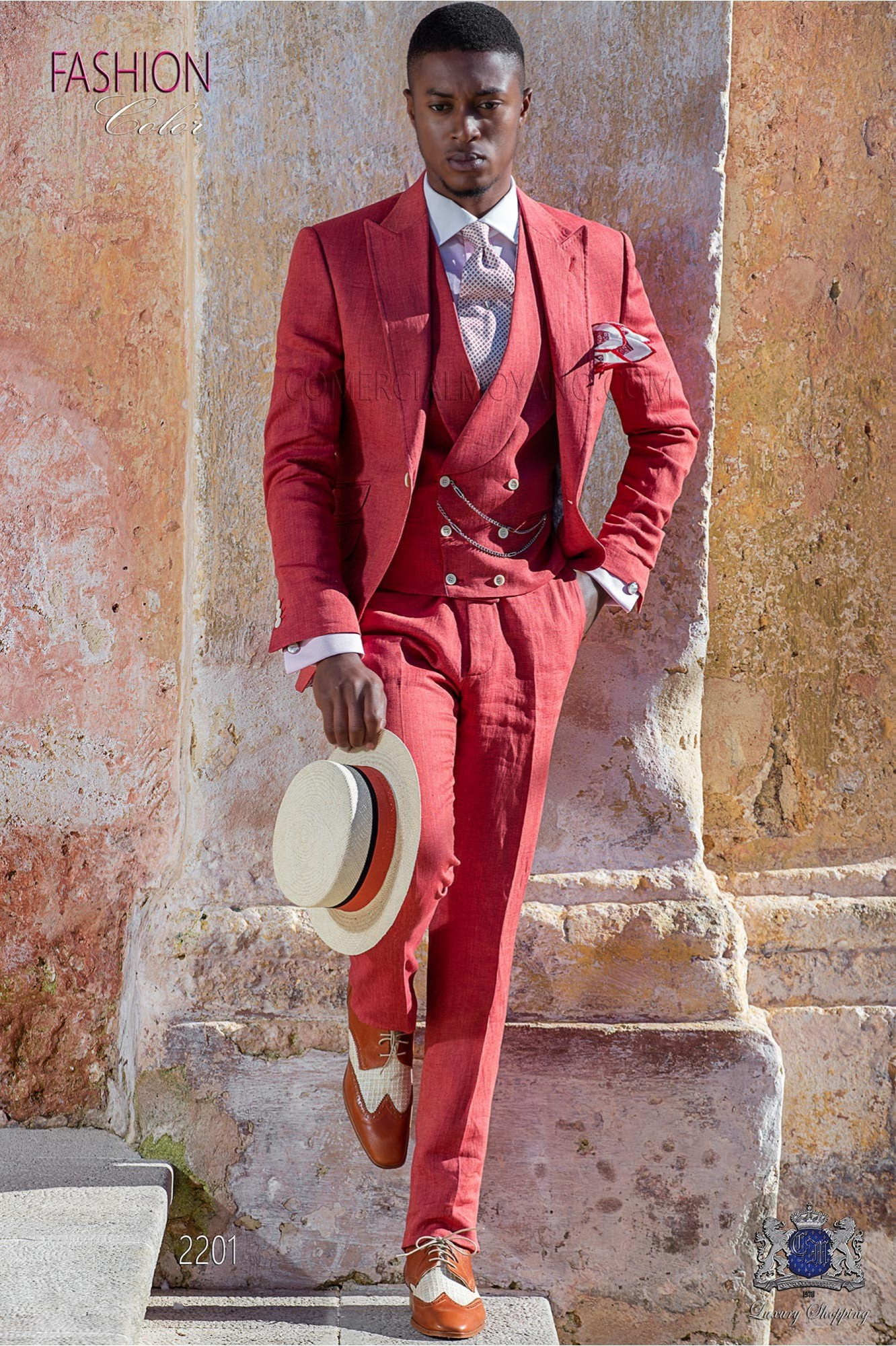 Italian stitched bespoke light red pure linen suit