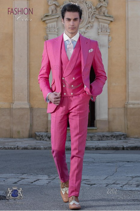 Italian stitched bespoke pink pure linen suit