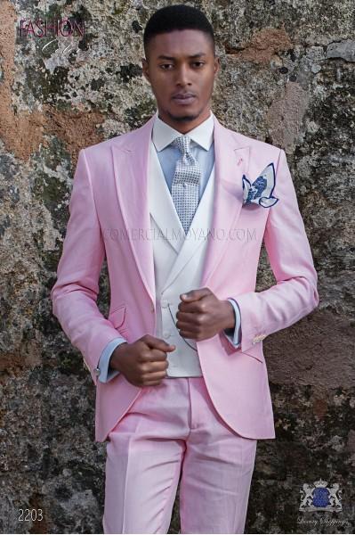 Italian stitched bespoke light pink pure linen suit