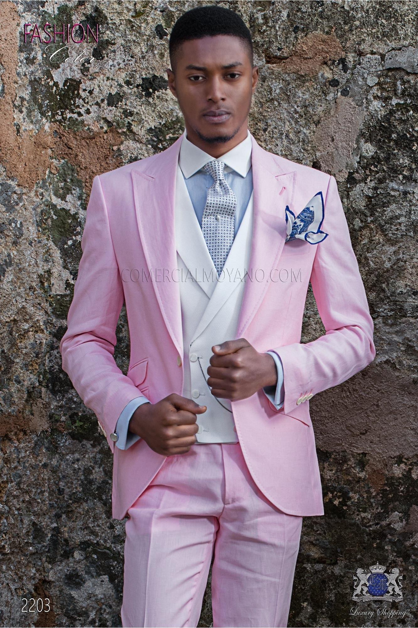 Traje italiano a medida rosa claro de lino con pespunte