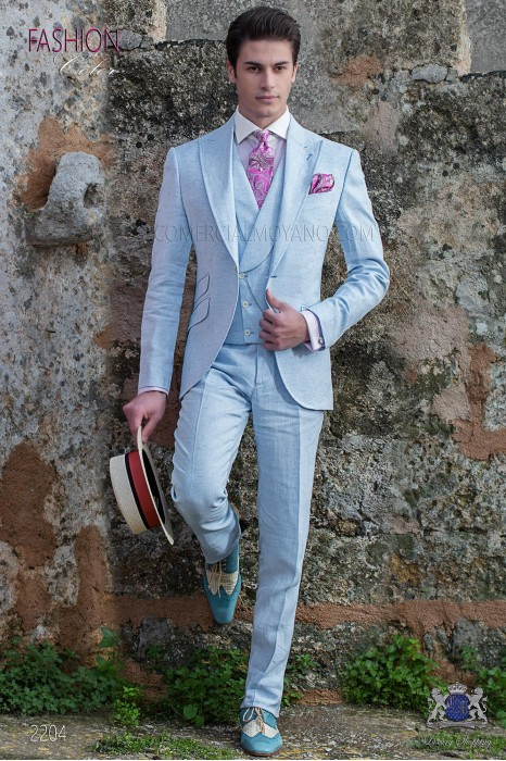 Italian stitched bespoke light blue pure linen suit