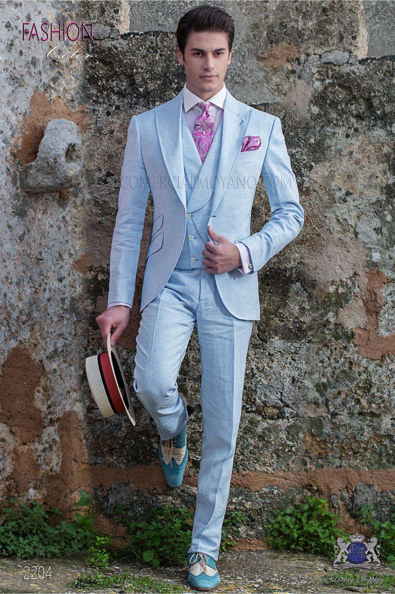 d97ee581524ef Traje de novio a medida azul claro de lino loading zoom jpg 1332x2000 Lino  trajes azul