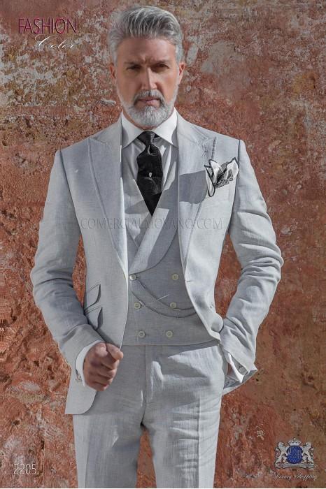Italian stitched bespoke light gray pure linen suit