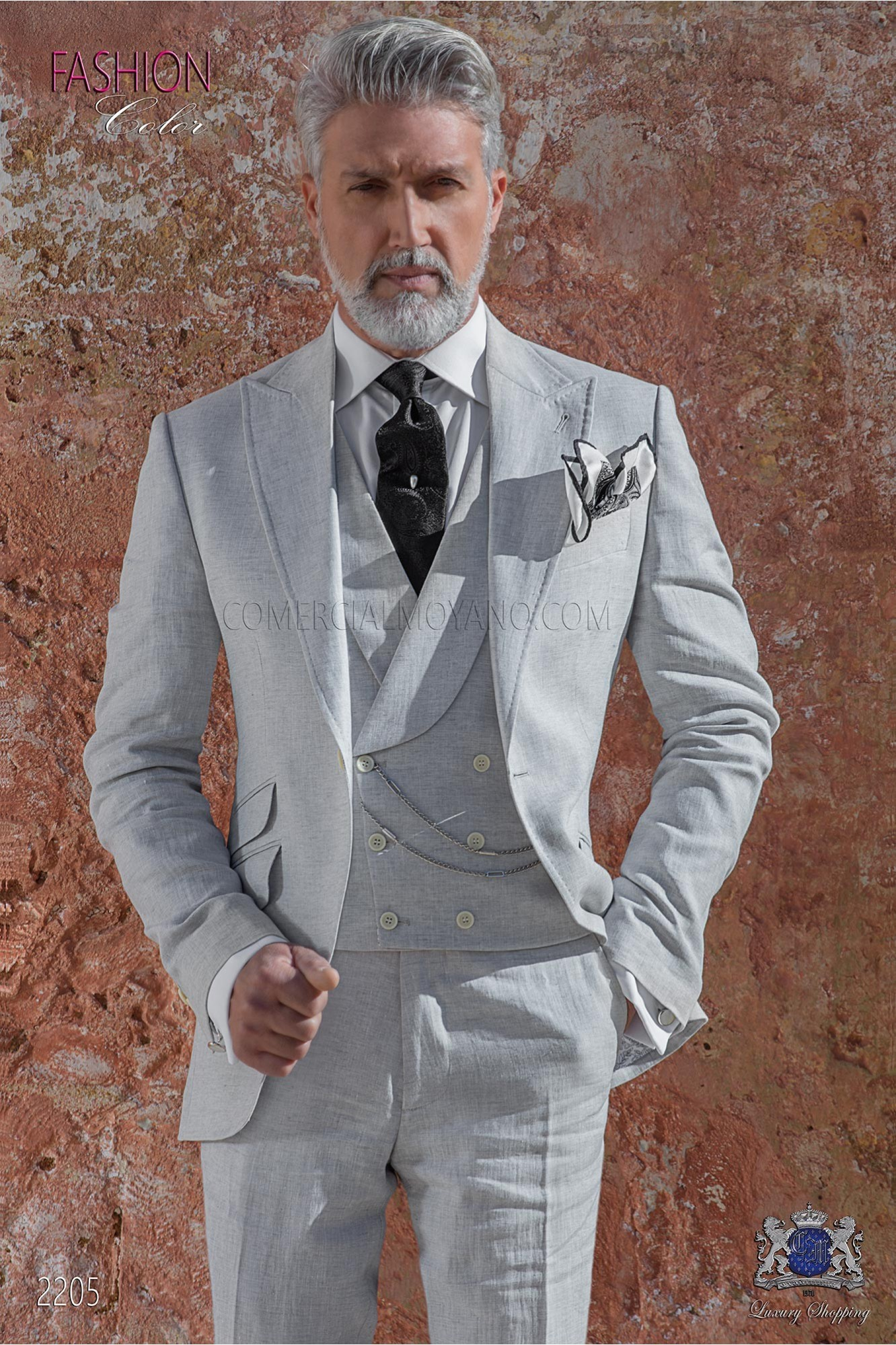 Italian stitched bespoke light gray pure linen suit