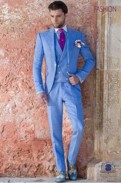 Italian stitched bespoke blue pure linen suit