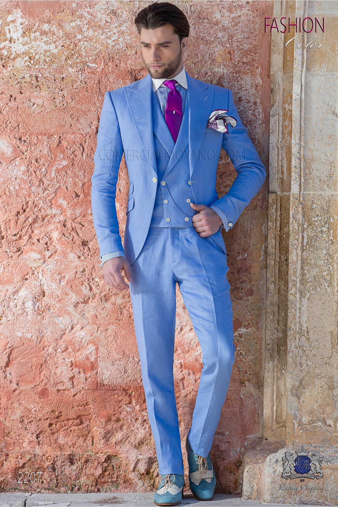 Italian stitched bespoke blue pure linen suit