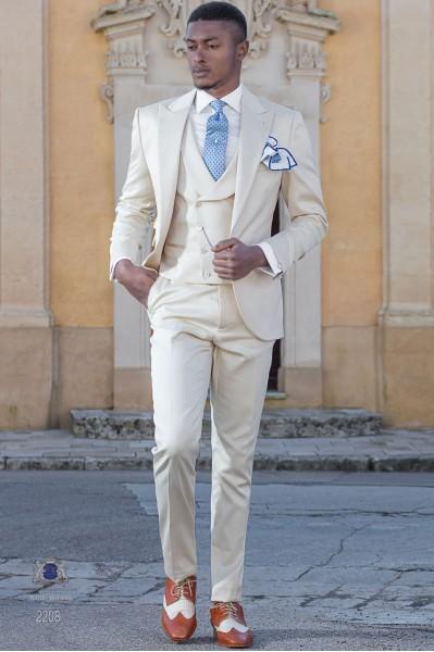 Traje italiano de novio beige en raso de algodón