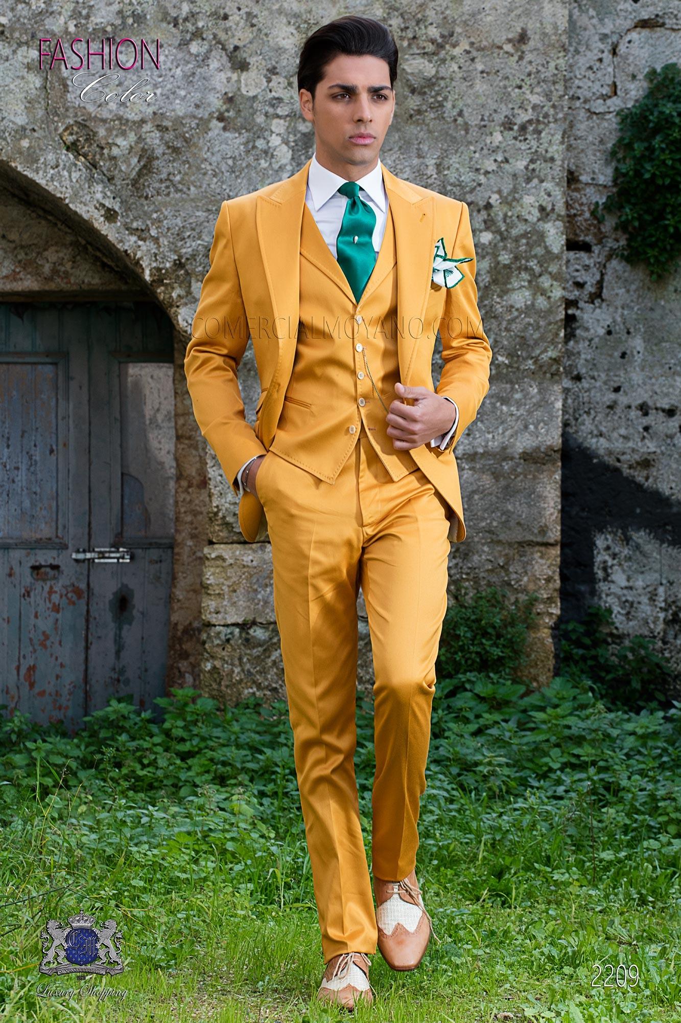 Gelb satinierte Baumwolle Hochzeitsanzug Ottavio Nuccio Gala.