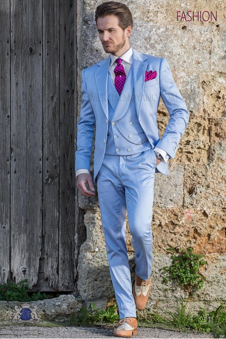 Italian stitched bespoke pure cotton light blue suit
