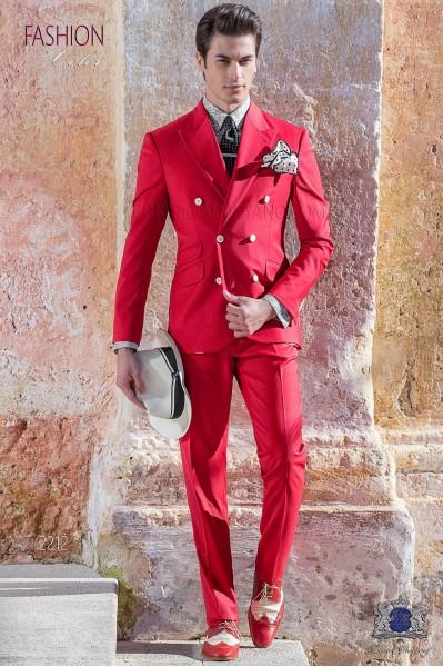 Traje italiano cruzado New Performance Rojo