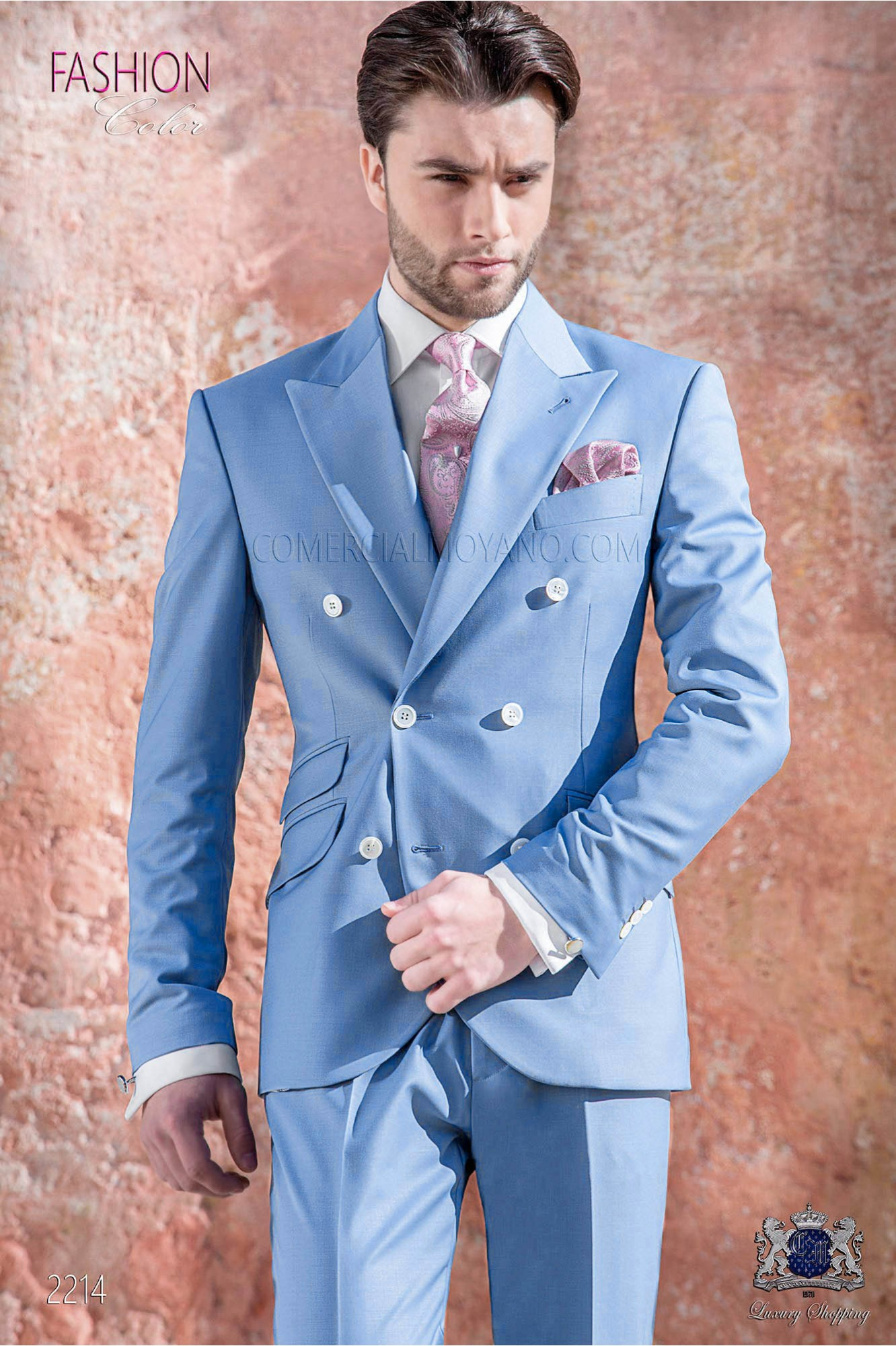 Italian bespoke blue new performance double breasted suit