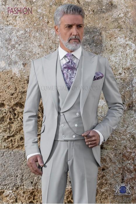 Italian stitched bespoke light gray pure new performance suit