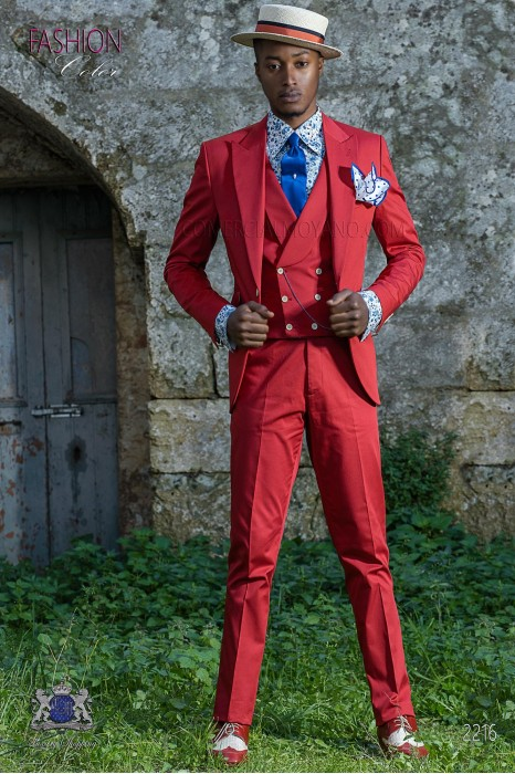 Italian fashion slim fit pure cotton red wedding suit.