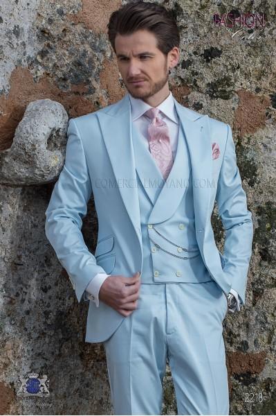"Suit modern Italian style ""Slim"". Light blue fabric 100% cotton."