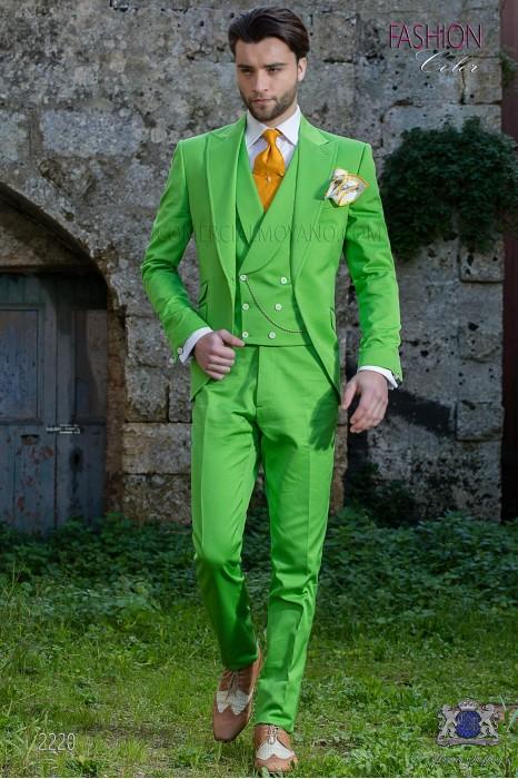 "Modern Italian style costume ""Slim"". Green fabric 100% cotton"