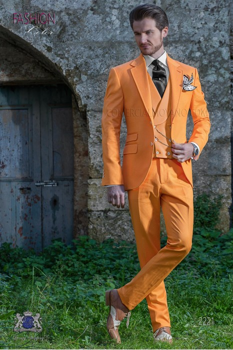 Italian orange pure cotton piqué wedding suit