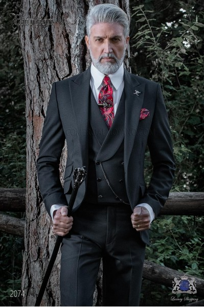 Costume homme moderne noir laine mélangé