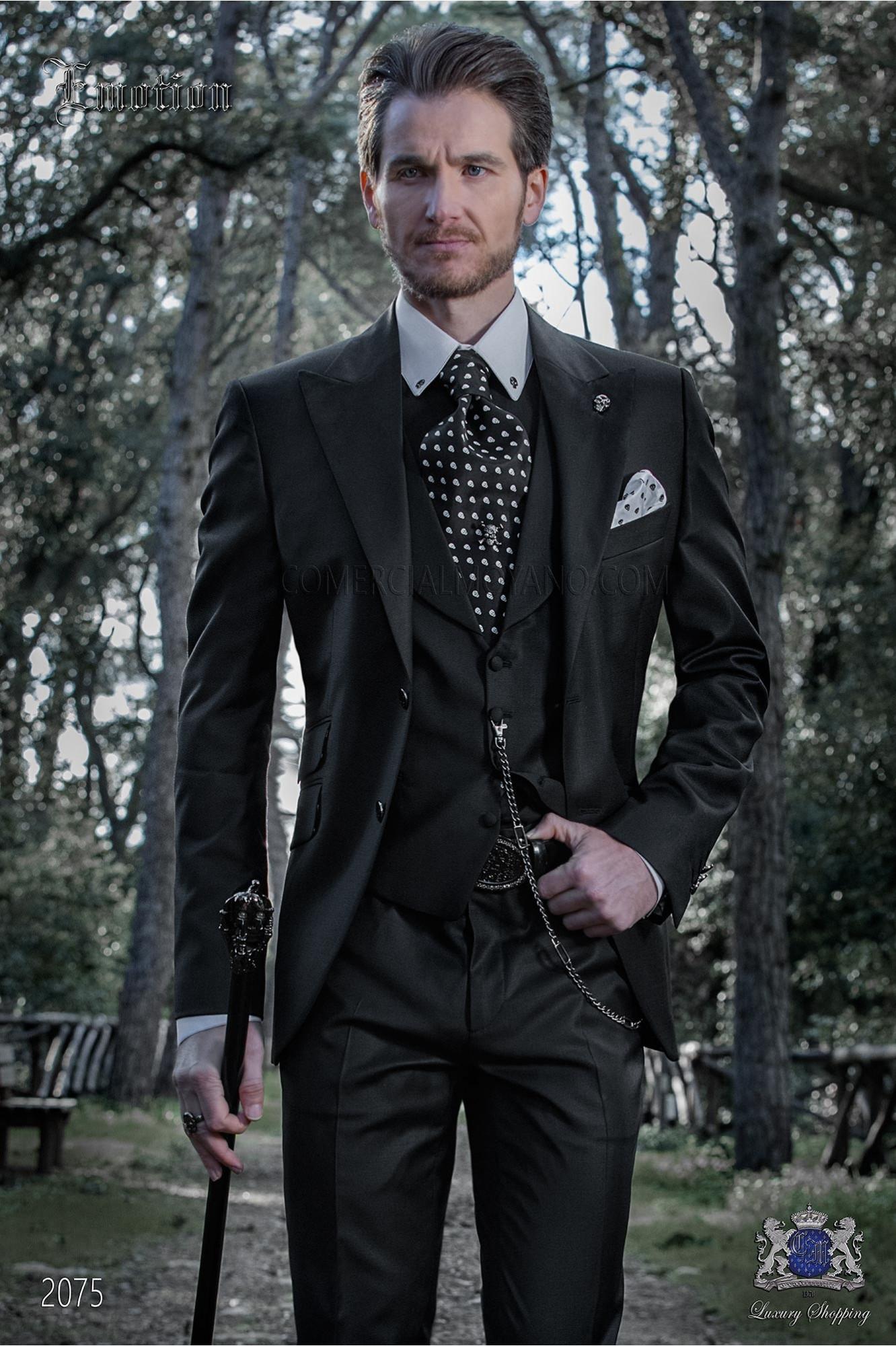 Italian black fashion groom suit. Pure wool fabric