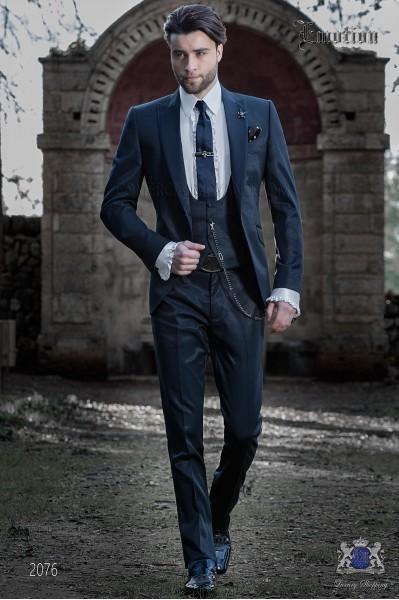 Italian wedding suit with slim stylish cut. New performance fabric