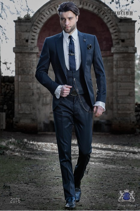 Italian wedding suit with slim stylish cut. New performance fabric