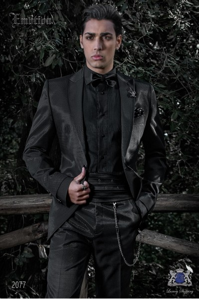 Italian wedding suit with slim stylish cut black, new performance fabric