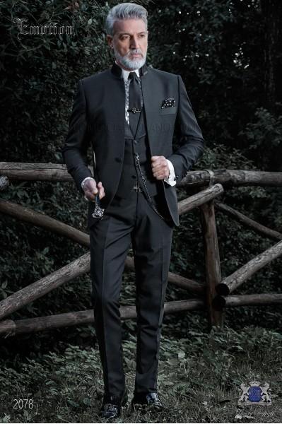 Italian black mao collar groom suit