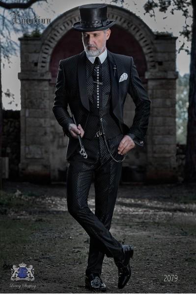 Tuxedo noir monochrome design avec châle revers