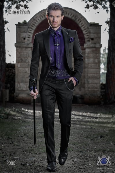Italian bespoke black tuxedo slim fit with peak satin lapels