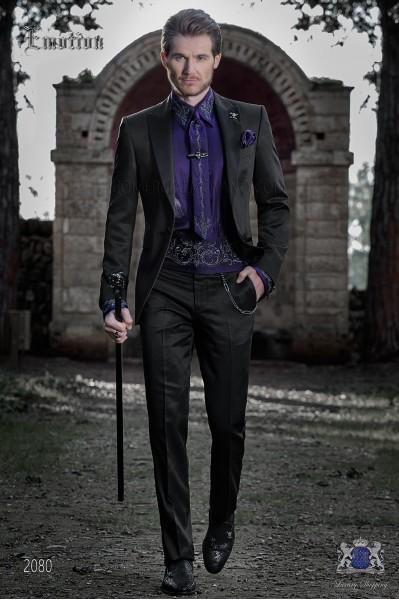 Tuxedo italienne noir avec revers de pointe contrastés de tissu de laine mélangée