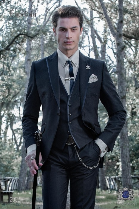 Italian dark blue shiny fashion suit. Peak lapels with satin trims and 1 button.