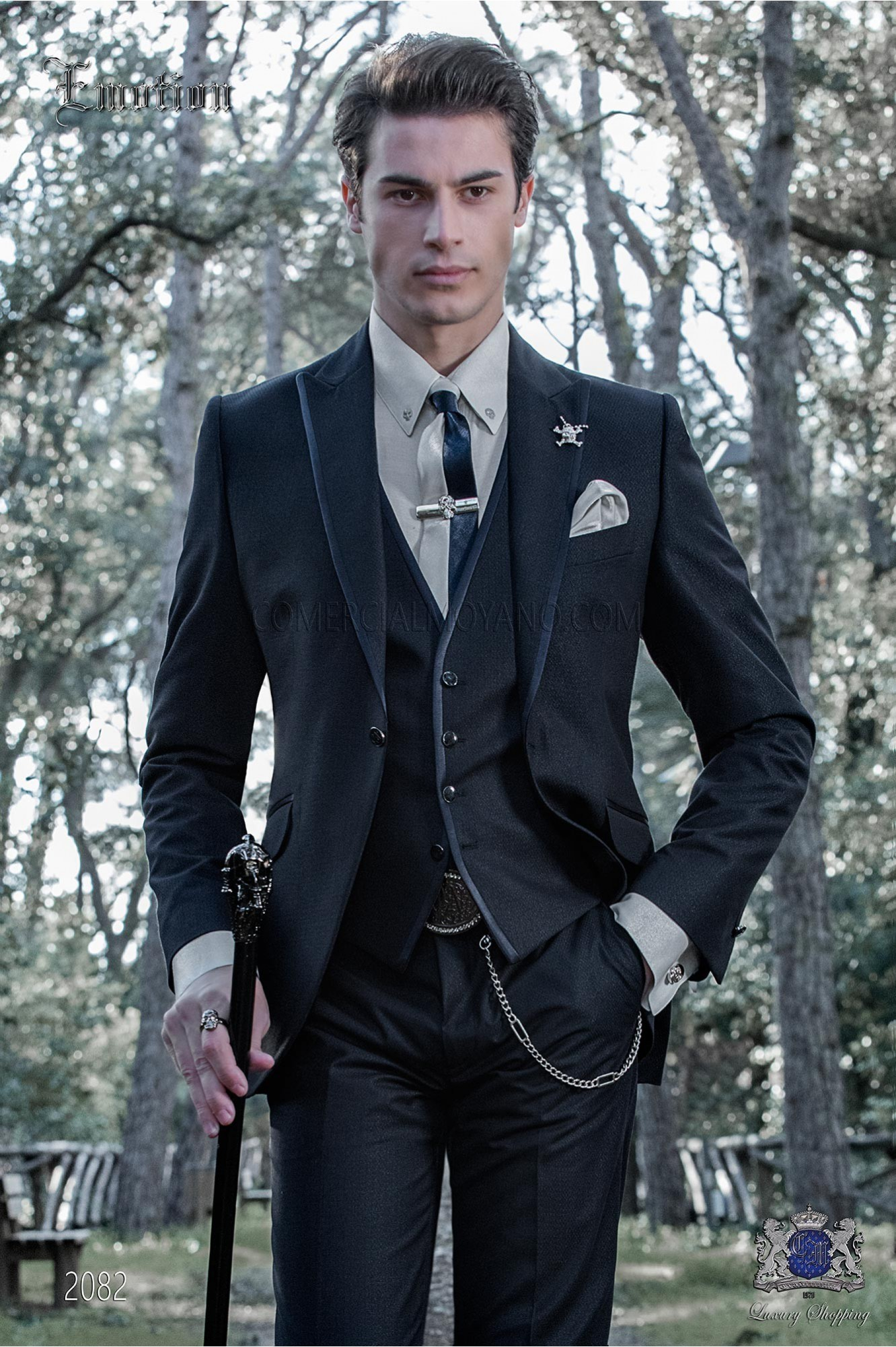 Italian dark blue shiny fashion suit. Peak lapels with satin trims and 1 button